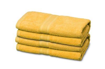 4 Badstof handdoeken yellow, ca. 50 x 100 cm