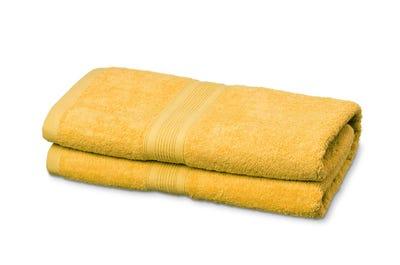 2 Badstof badhanddoeken yellow, ca. 70 x 140 cm