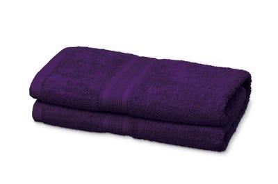 2 Badstof badhanddoeken purple, ca. 70 x 140 cm