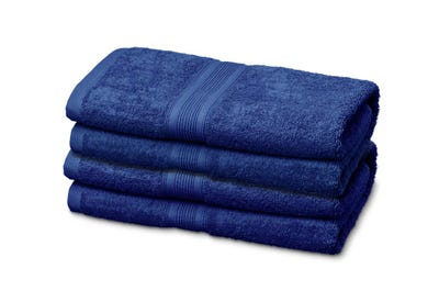 4 Badstof handdoeken royal blue, ca. 50 x 100 cm
