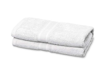 2 Badstof badhanddoeken white, ca. 70 x 140 cm