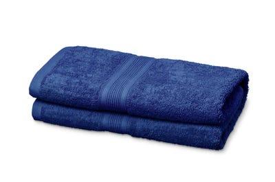 2 Badstof saunahanddoeken royal blue, ca. 80 x 200 cm