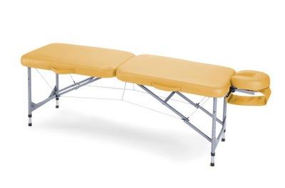 Draagbare massagetafel aluminium zonnegeel