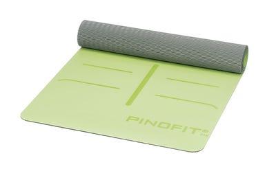 PINOFIT® Yogamat lime/grey met markeringen